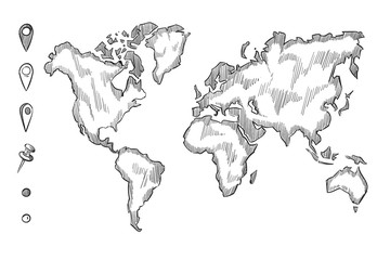 Hand drawn, rough sketch world map with doodle pins