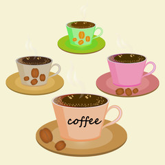 set of cups on saucers with coffee and coffee beans