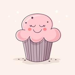 Hand Drawn Cute Cupcake.