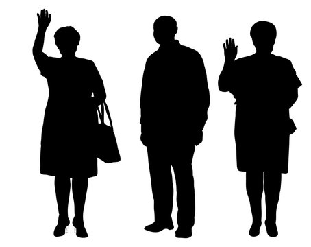 Vector, silhouette man and woman, stand,