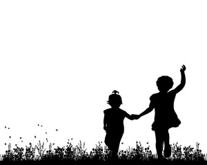 Vector, silhouette of children go hand in hand