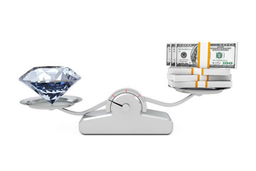 Giant Diamond with Money Balancing on a Simple Weighting Scale. 3d Rendering
