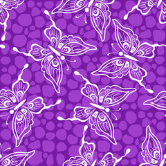 Seamless Background, Butterflies White Silhouettes on Violet Tile Pattern. Vector