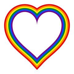 Rainbow Pride Flag LGBT Movement in Heart Shape
