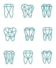 Tooth symbol set. Vector illustration