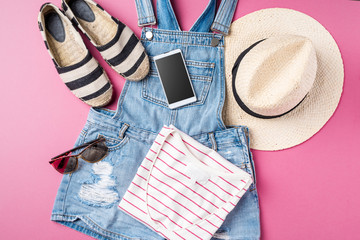Casual female clothes. Summer fashion background