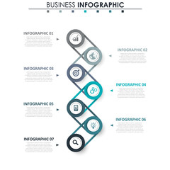 Wall Mural - Business data visualization. Process chart. Abstract elements of graph, diagram with 7 steps, options, parts or processes. Vector business template for presentation. Creative concept for infographic.