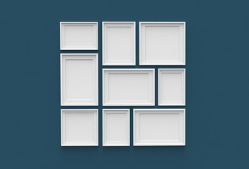 Picture frame isolated on dark blue drywall background