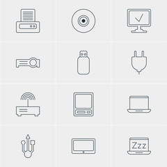 Vector Illustration Of 12 Notebook Icons. Editable Pack Of Laptop, Pda, Printer And Other Elements.