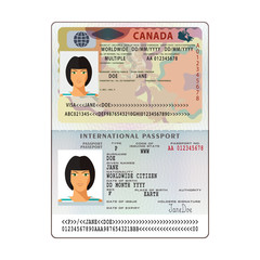 Vector international open passport with Canada visa