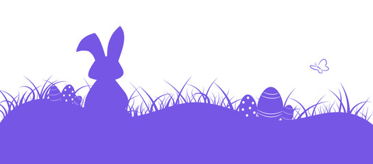 Easter. Field with rabbit, butterfly and eggs in purple shades.