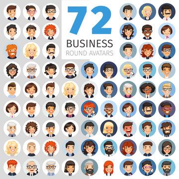 Flat Businessmen Round Avatars Big Collection
