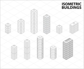 Vector isometric buildings set.