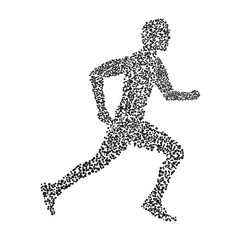 The silhouette of a runner from circles black