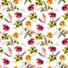 Roses, feathers. Seamless pattern. Watercolor