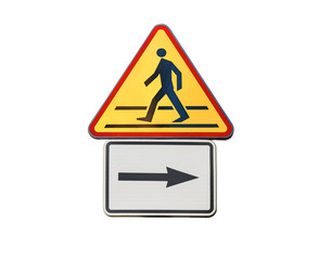 Road sign for right arow and red pedestrian sign isolated