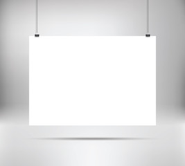 Empty white vector horizontal poster template. Poster mock up. Template of white blank vector poster. Mockup hanging on wall. Frame for paper sheet. A4, A3, A2, A1 format. Stock vector.