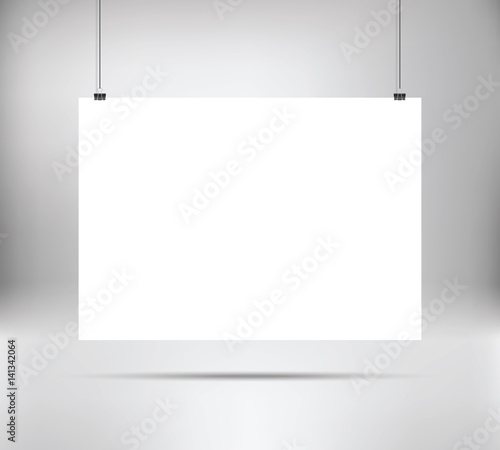 empty white vector horizontal poster template. poster mock up, Powerpoint templates