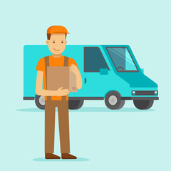 Delivery concept - truck and friendly man
