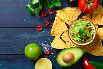 Guacamole bowl with ingredients