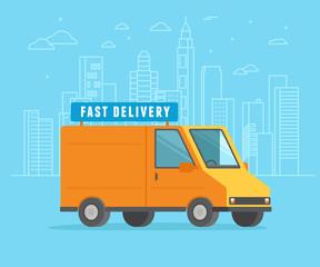 Fast delivery concept - orange car illustration