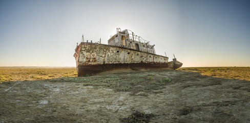 The ship graveyard of the Aral Sea.