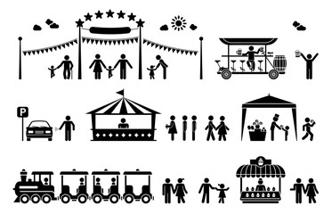 Amusement park pictogram icons. Set of icons for amusement parks, festivals and outdoor happenings.