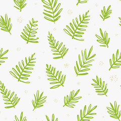 Tropical seamless pattern with palm leaves. Exotic tree foliage made in brush style. Vector.