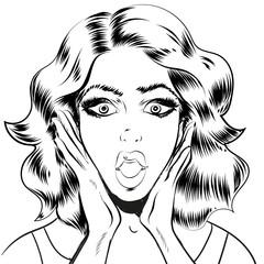 Surprised woman face line art