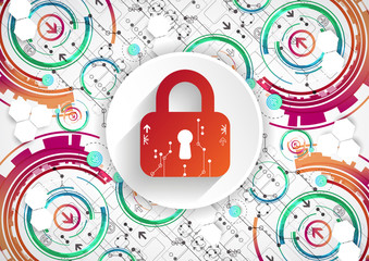 Protection background. Technology security, encode and decrypt, techno scheme
