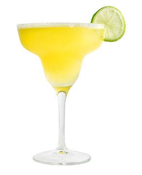 Lemon Margarita cocktail, isolated on white