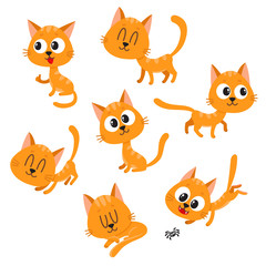 Set of cute and funny red cat character showing different emotions, playing, sleeping, sitting, standing, cartoon vector illustration isolated on white background. Cute and funny red cat character