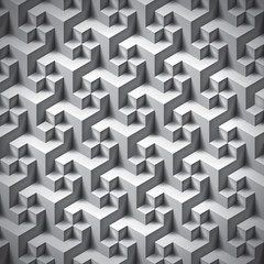 Volume realistic unreal texture, gray cubes, 3d geometric pattern, design vector background