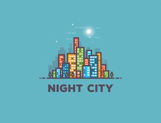 Night city line panorama
