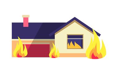 Burning Building Isolated on White Background