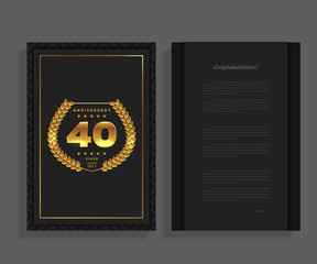 40th anniversary decorated greeting / invitation card template with logo.