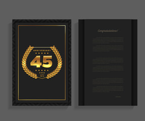 45th anniversary decorated greeting / invitation card template with logo.