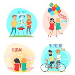 Friends forever. Friendship Day Illustrations Set