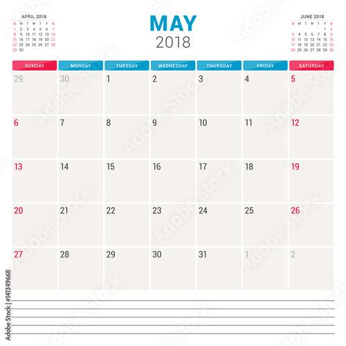 May Calendar Vector : Quot may calendar planner vector design template week