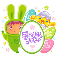 Colorful Easter Greeting Card with child bunny and frame with Easter joy text lettering. Rabbit baby, eggs and chicken. Use it as banner, invitation to egg hunting. Vector isolated on white background