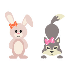 cartoon bunny and wolf girl with bow vector