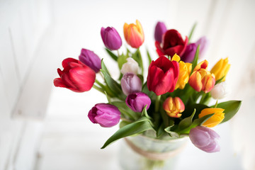 Spring bouquet with colorful tulips