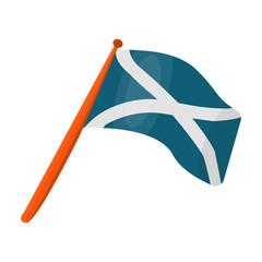 Scotland flag on a wooden stick.The Scottish national flag.Scotland single icon in cartoon style vector symbol stock illustration.