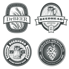 Set of vintage beer emblems, labels and badges. Vector illustration. Brewery logo design elements.