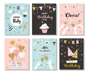 Happy birthday greeting card and party invitation templates, vector illustration, hand drawn style