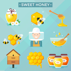 Honey icons, flat design, vector illustration