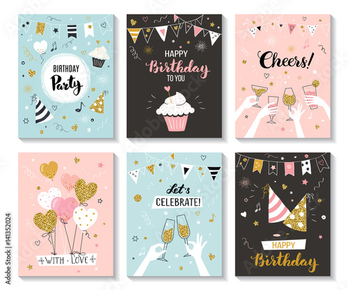 Happy Birthday Greeting Card And Party Invitation Templates Vector Illustration Hand Drawn Style