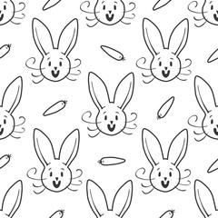 Cute bunny seamless pattern. Hand drawn vector illustration.