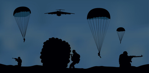 Illustration, airplane and paratroopers.