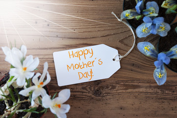 Sunny Flowers, Label, Text Happy Mothers Day